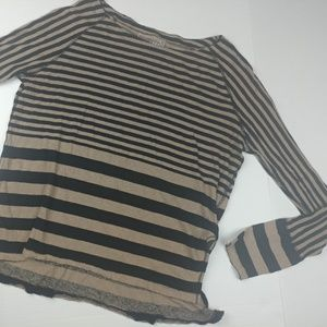 We the Free Stripped LINEN Long Sleeve Top
